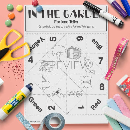 ESL English Garden Fortune Teller Craft Activity Worksheet