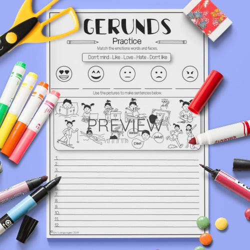 ESL English Kids Gerund Practice Worksheet