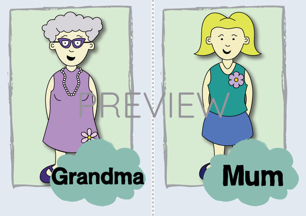 Grandma and Mum Flashcard