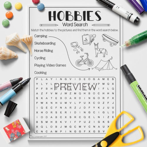 ESL English Kids Hobbies Word Search Worksheet