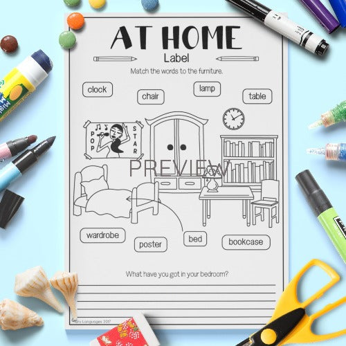 ESL English Kids Home Label The Furniture Worksheet
