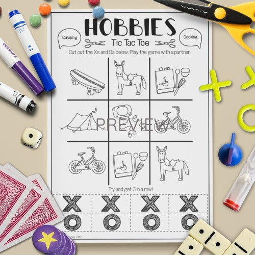 ESL English Kids Hobbies Tic Tac Toe Game Worksheet