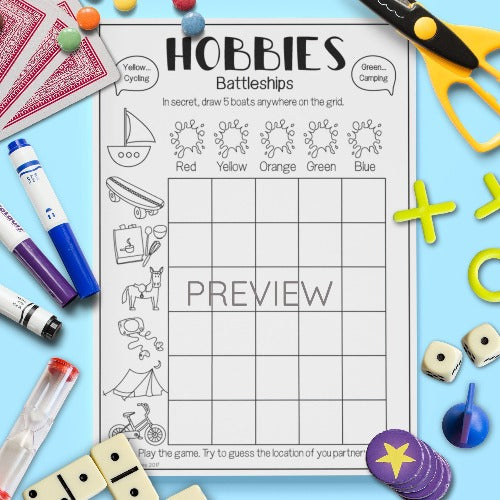 ESL English Kids Hobbies Battleships Game Worksheet