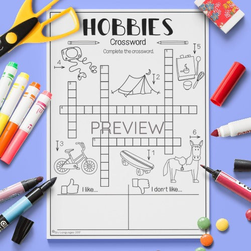 ESL English Kids Hobbies Crossword Worksheet