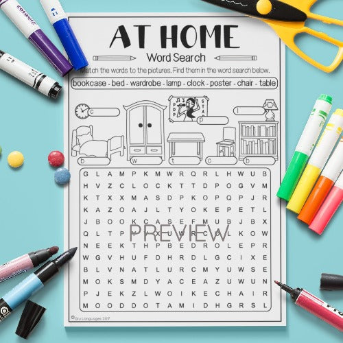 ESL English Kids Home Word Search Worksheet