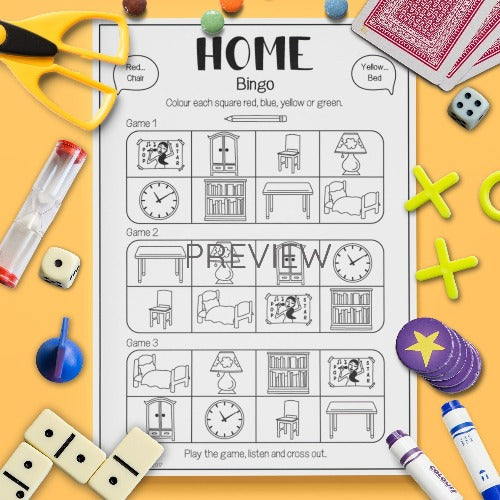 ESL English Kids Home Bingo Game Worksheet