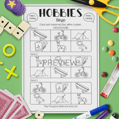 ESL English Kids Hobbies Bingo Game Worksheet
