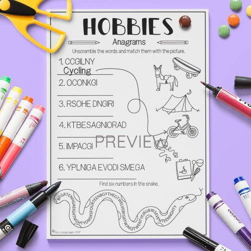 ESL English Kids Hobbies Anagrams Worksheet
