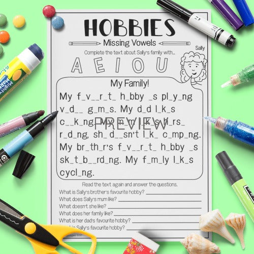 ESL English Kids Hobbies Missing Vowels Worksheet