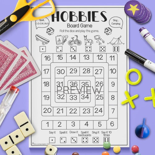 ESL English Kids Hobbies Sentence Board Game Worksheet