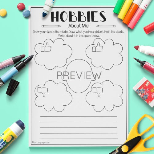 ESL English Kids Hobbies About Me Worksheet