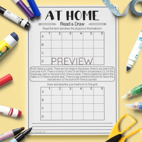 ESL English Kids Home Read and Draw Worksheet