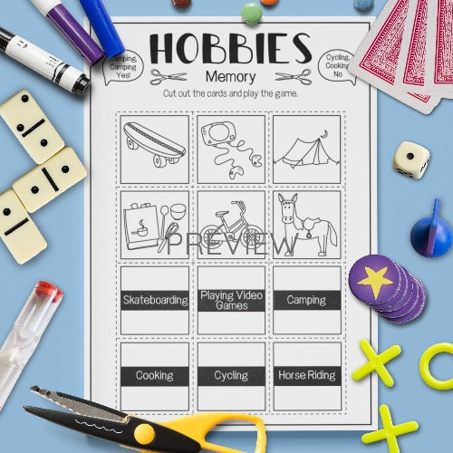 ESL English Kids Hobbies Memory Game Worksheet