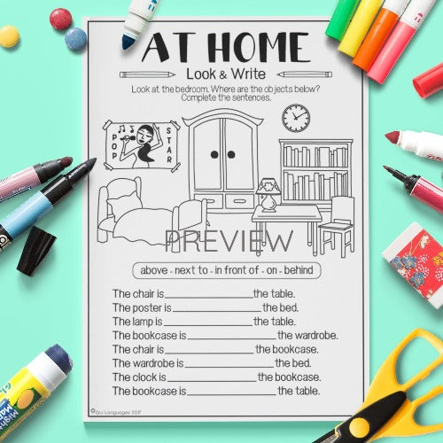 ESL English Kids Home Look and Write Worksheet
