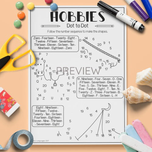 ESL English Kids Hobbies Dot To Dot Worksheet