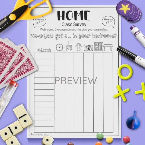 ESL English Kids Home Class Survey Worksheet