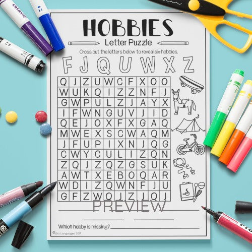 ESL English Kids Hobbies Letter Puzzle Worksheet