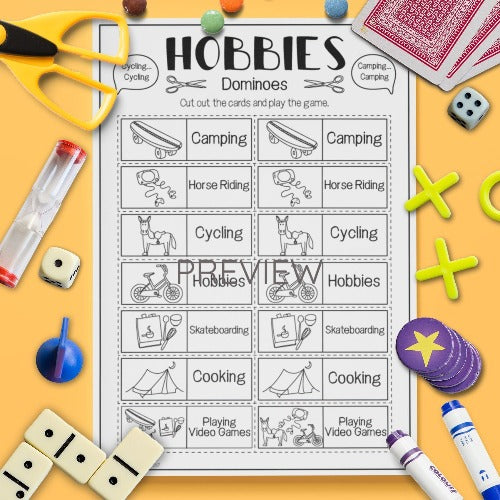 ESL English Kids Hobbies Dominoes Game Worksheet