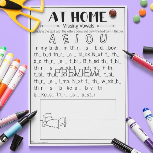 ESL English Kids Home Missing Vowels Worksheet