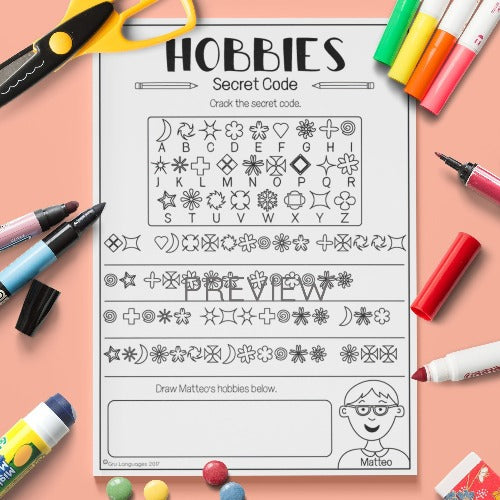 ESL English Kids Hobbies Secret Code Worksheet