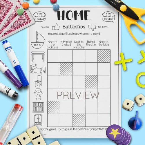 ESL English Kids Home Battleships Game Worksheet