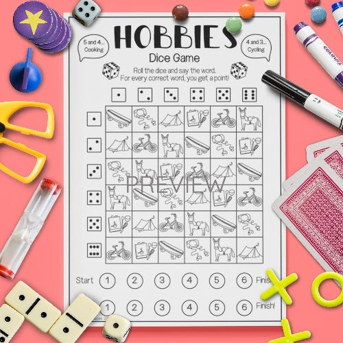 ESL English Kids Hobbies Dice Game Worksheet