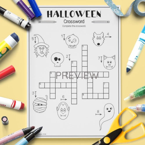 ESL English Kids Halloween Crossword Worksheet