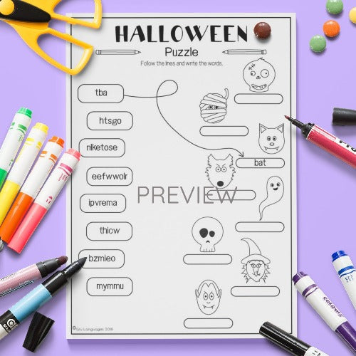 ESL English Kids Halloween Puzzle Worksheet