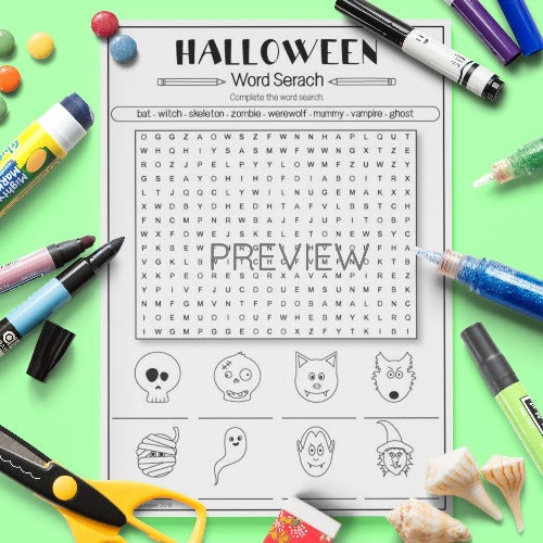 ESL English Kids Halloween Word Search Worksheet