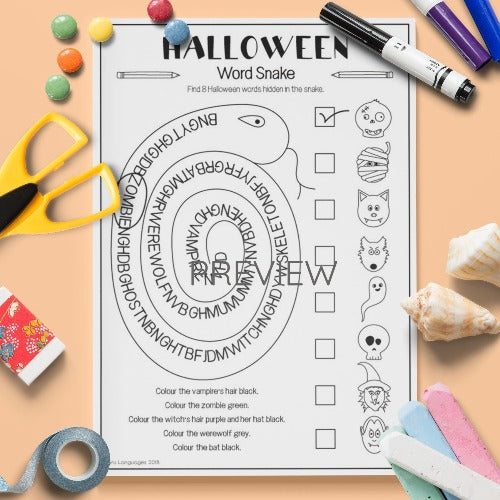 ESL English Kids Halloween Word Snake Worksheet