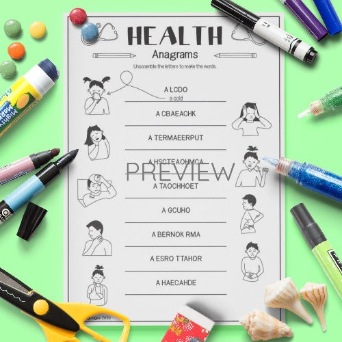ESL English Health Anagrams Activity Worksheet