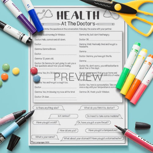 ESL English Health At The Doctors Activity Worksheet