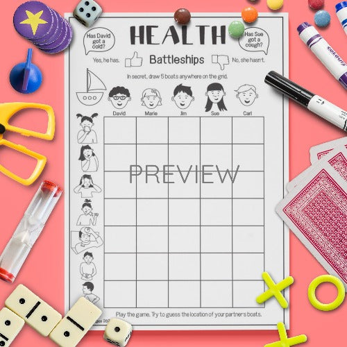 ESL English Health Battleships Game Activity Worksheet