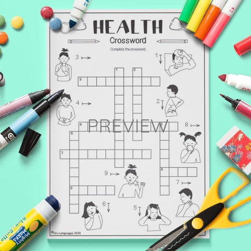 ESL English Health Crossword Activity Worksheet