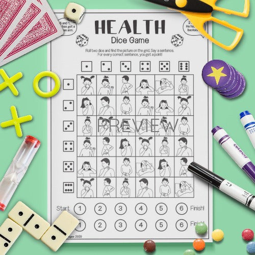 ESL English Health Dice Game Activity Worksheet