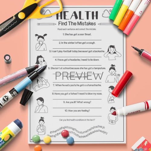 ESL English Health Find The Mistake Activity Worksheet