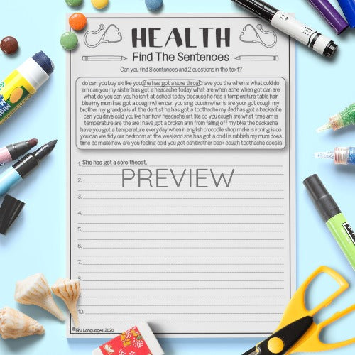 ESL English Health Find The Sentences Activity Worksheet
