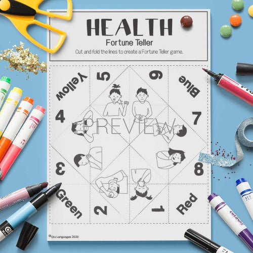 ESL English Health Fortune Teller Craft Activity Worksheet