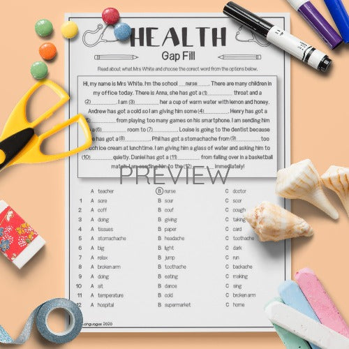 ESL English Health Gap Fill Activity Worksheet