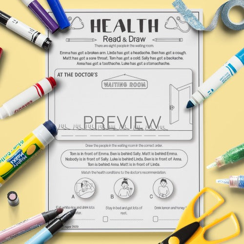 ESL English Health Read And Draw Activity Worksheet