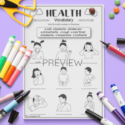 ESL English Health Vocabulary Activity Worksheet