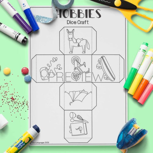ESL English Hobbies Dice Craft Activity Worksheet