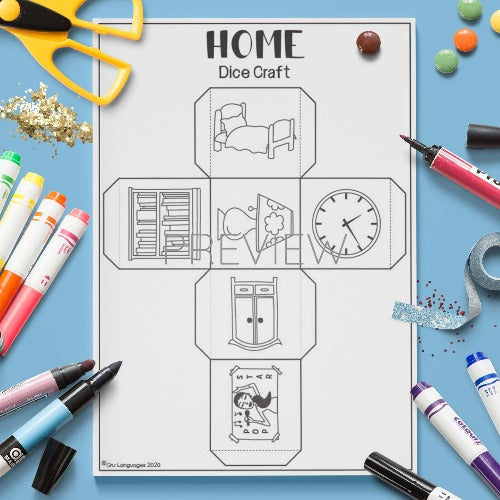 ESL English Home Dice Craft Activity Worksheet