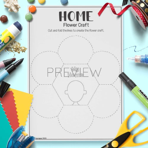 ESL English My Home Flower Craft Activity Worksheet