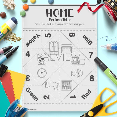 ESL English Home Fortune Teller Craft Activity Worksheet