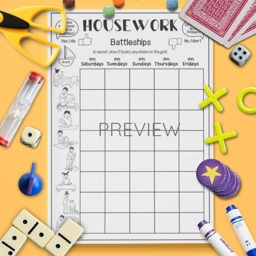 ESL English Housework Battleships Game Activity Worksheet