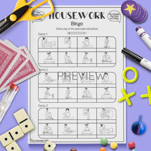ESL English Housework Bingo Game Activity Worksheet