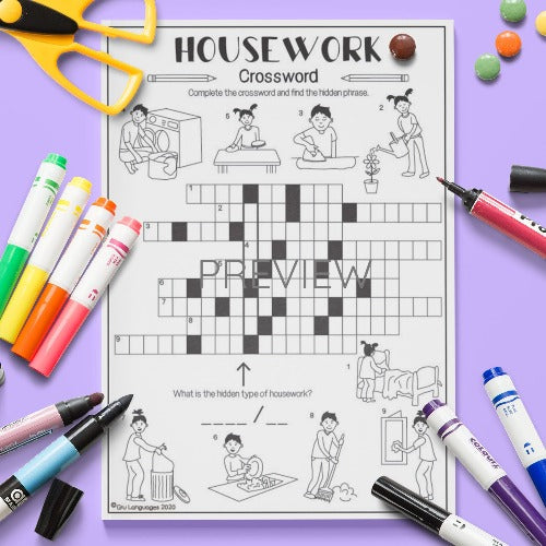ESL English Housework Crossword Activity Worksheet