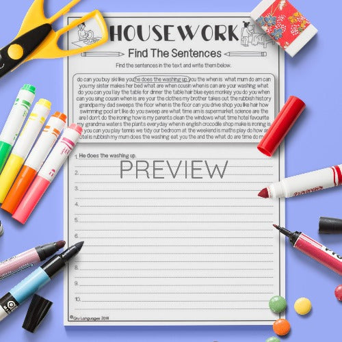 ESL English Housework Find The Sentences Activity Worksheet