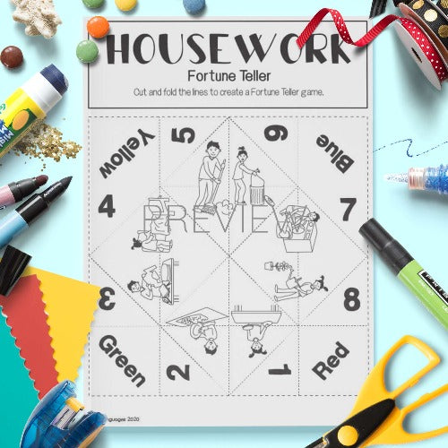 ESL English Housework Fortune Teller Craft Activity Worksheet